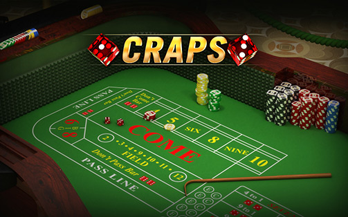 Craps table with chips and dice